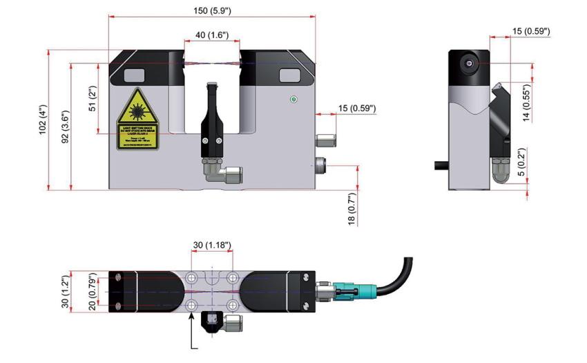 Размеры лазерного датчика наладки инструмента LTS35.60.