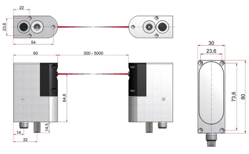 Размеры лазерного датчика наладки инструмента LTS35.66