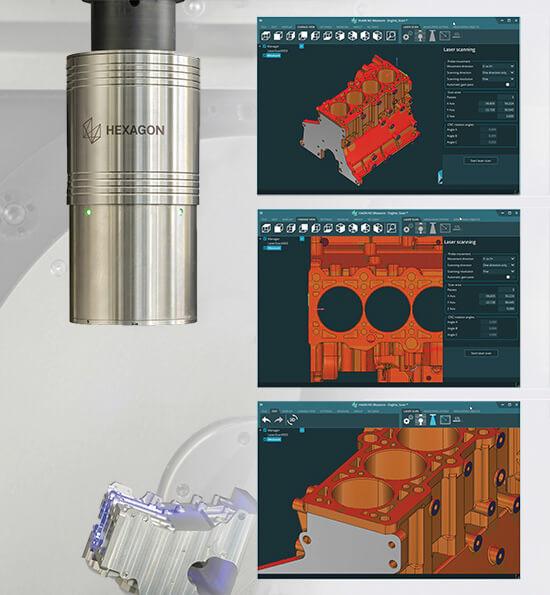 Программа HxGN NC Measure проводит лазерное сканирование детали на 5-осевом станке