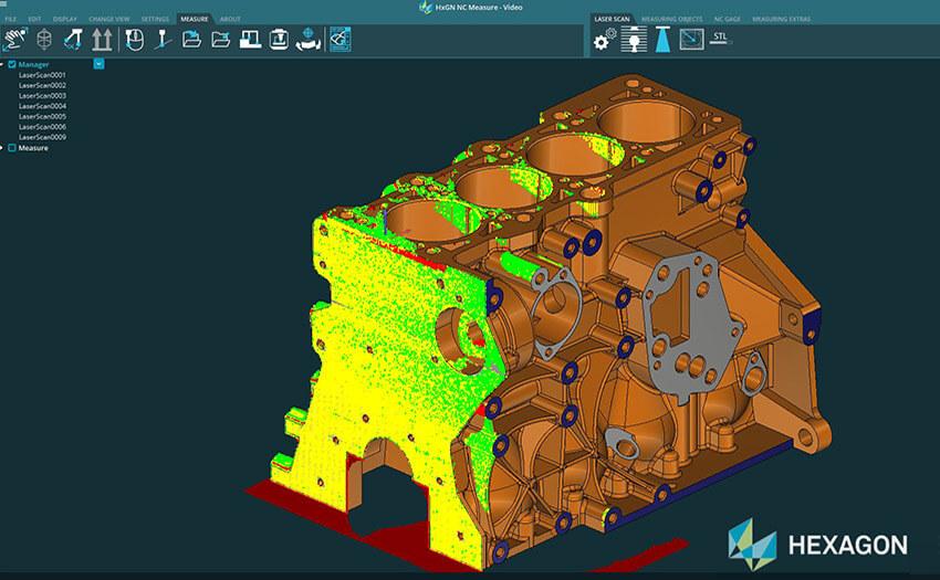 Цветовая карта поверхности блока двигателя в программе NC Measure
