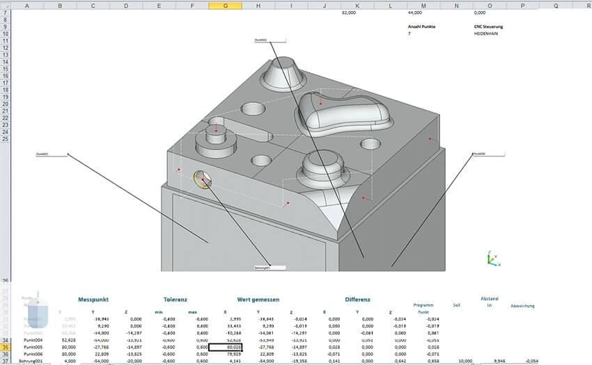Отчет измерения детали 3DFI в формате Excel